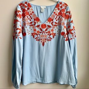Sundance embroidered long sleeve blouse Size M